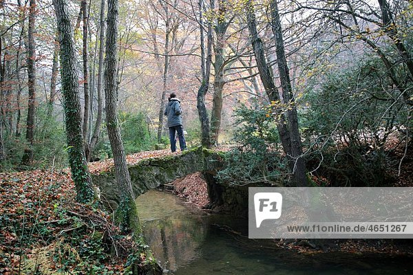 Girl walking into nature  Ega valley  Â¡lava  Basque Country  Spain.