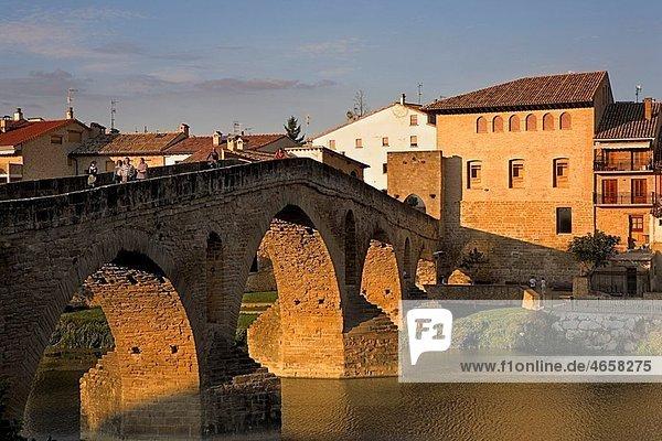 Medieval bridge Puente la Reina Navarra Spain Camino de Santiago