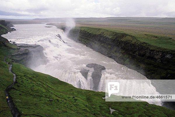 Iceland gullfoss heavy waterfalls