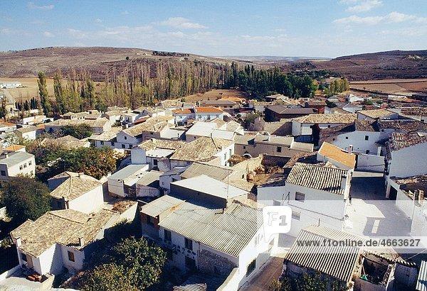 Aerial view of Uclés Cuenca province  Castilla La Mancha  Spain