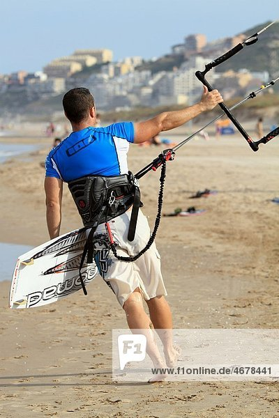 Surfers Kite surf Cullera beach Valencia province Spain Europe