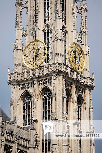 Main tower of the Cathedral of Our Lady  built between XIV Century and XVI Century  in Antwerp Belgium