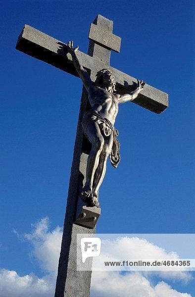 Statue of Jesus Christ on the cross  Roquevaire  Bouches-du-Rhone  France