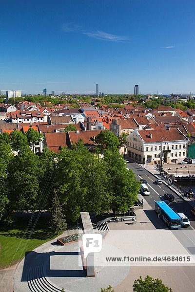 Lithuania  Western Lithuania  Klaipeda  elevated town view from the K Building  daytime