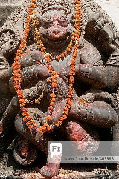 statue at a Hindu temple in the ancient city of Bhaktapur  near Kathmandu  Nepal