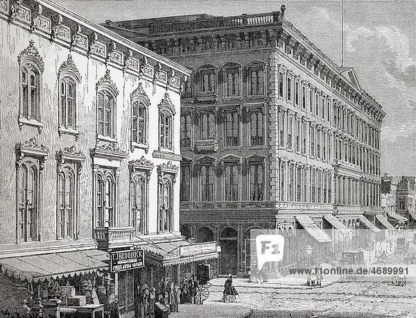 View of the Western Hotel  Montgomery Street  San Francisco  California  America in the 19th century From El Mundo en la Mano published 1875