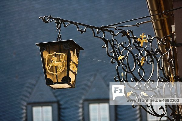 Close up of a historic lantern in Wernigerode  Saxony-Anhalt  Germany  Europe Close up of a historic lantern in Wernigerode, Saxony-Anhalt, Germany, Europe
