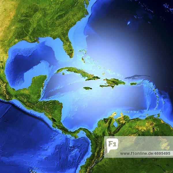 Detaillierte 3D-Computergrafik  Karte von Zentralamerika