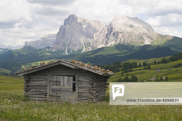 Almhütte vor Plattkofel und Langkofel  Seiser Alm  Südtirol  Italien  Europa