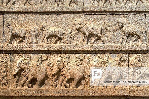 Sculptured Panel in Ramachandra temple in Hampi   Karnataka   India Sculptured Panel in Ramachandra temple in Hampi , Karnataka , India
