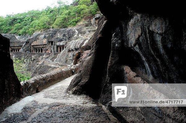 One of ways leading to UNESCO World Heritage site Ajanta Caves in Maharashtra   India