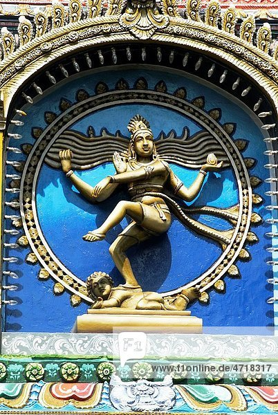 Nataraja lord Shiva performing Tandava cosmic dance with nandi bulls stucco work on facade of Nataraja Hall   Thanjavur palace   Thanjavur   Tamil Nadu   India