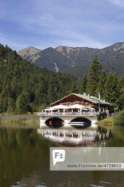 Pflegersee mountain inn  Garmisch-Partenkirchen  Werdenfelser Land region  Upper Bavaria  Bavaria  Germany  Europe