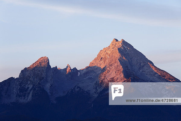 Watzmann  morgens  Blick von Kneifelspitze bei Berchtesgaden  Berchtesgadener Alpen  Berchtesgadener Land  Oberbayern  Bayern  Deutschland  Europa