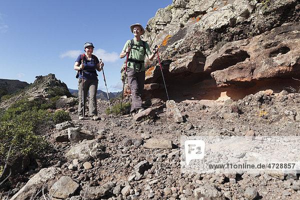 Wanderer  Barranco de Majona  La Gomera  Kanaren  Spanien  Europa