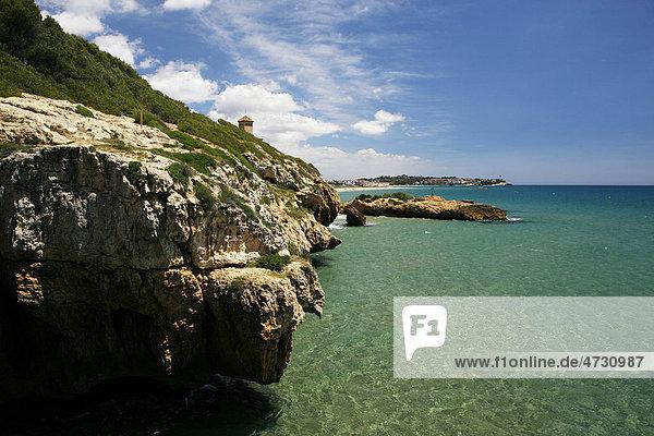 Mediterranean coast in Tarragona  Catalonia  Spain  Europe