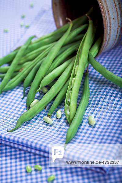 Grüne Bohnen auf einem Tisch