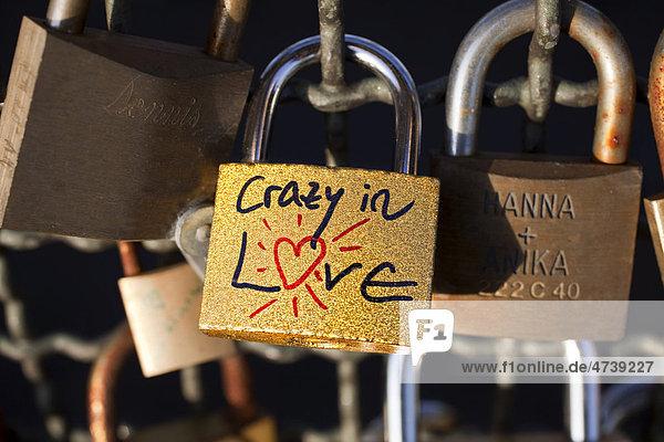 Crazy in Love  Liebesschlösser an der Hohenzollernbrücke  Köln  Nordrhein-Westfalen  Deutschland  Europa