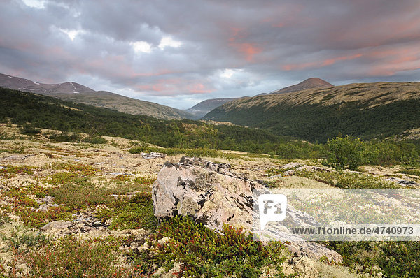 Morgenrot  Fjelllandschaft nahe Bjornhollia im Rondane Nationalpark  Norwegen  Skandinavien  Europa