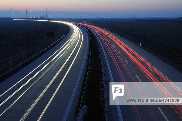 Autobahn A38 bei Leipzig  Sachsen  Deutschland  Europa
