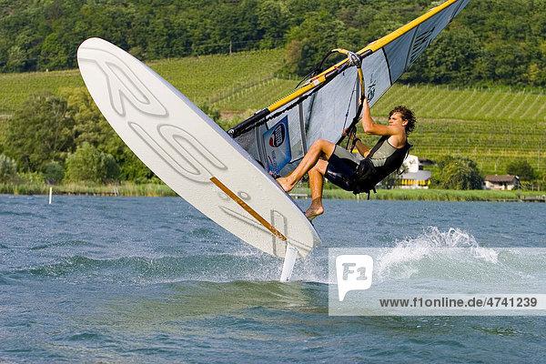 Windsurfer am Kalterersee  Kalterer See  Südtirol  Italien  Europa Windsurfer am Kalterersee, Kalterer See, Südtirol, Italien, Europa