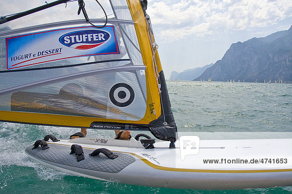 Windsurfer  Kalterersee  Kalterer See  Südtirol  Italien  Europa Windsurfer, Kalterersee, Kalterer See, Südtirol, Italien, Europa