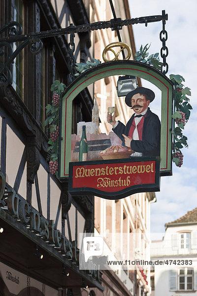 Hängeschild  Restaurant und Weinstube Muensterstuewel  Straßburg  Elsass  Frankreich  Europa Hängeschild, Restaurant und Weinstube Muensterstuewel, Straßburg, Elsass, Frankreich, Europa