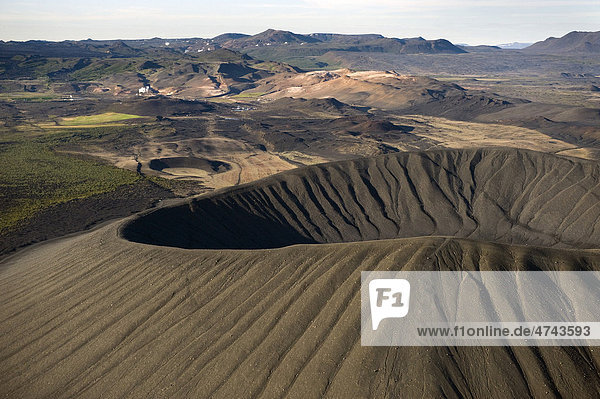 Luftaufnahme  Hverfjall-Krater am M_vatn  Nordisland  Island  Europa