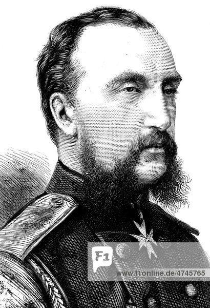 Großfürst Nikolaus Nikolajewitsch von Russland  1831 - 1891  Oberkommandeur der russischen Armee  historische Illustration  1877