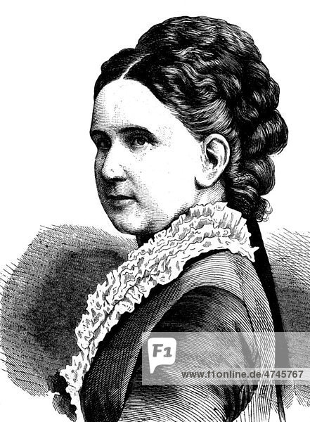 Großherzogin Luise von Baden  1811 - 1854  historische Illustration  1877