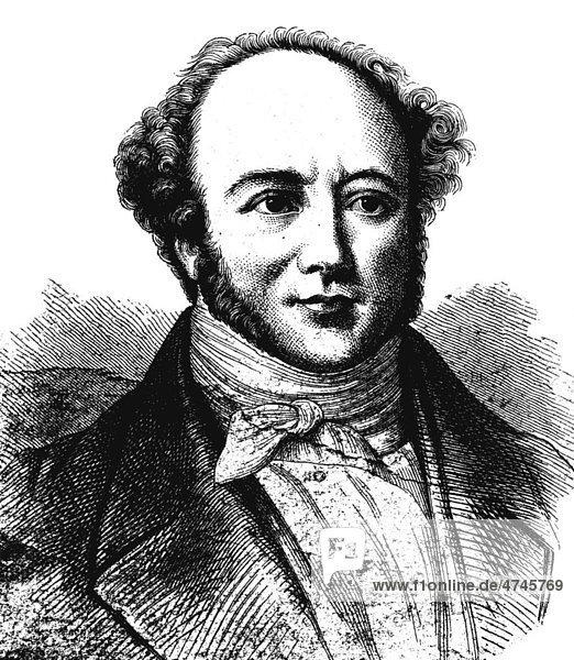 Jeremias Gotthelf  Pseudonym des schweizer Schriftstellers Albert Bitzius  1797 - 1854  historische Illustration  1877