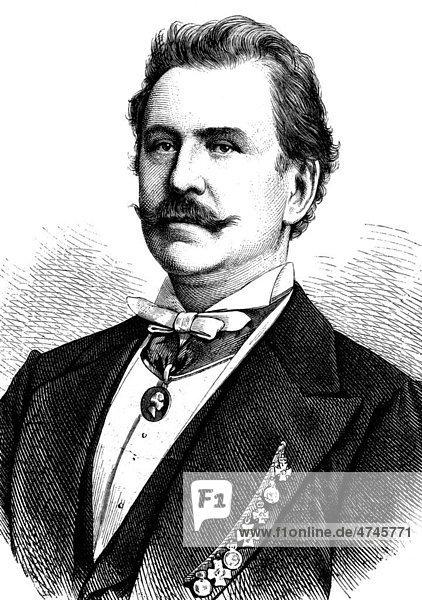 Karl Sontag  1828 - 1900  königlicher Hofschauspieler  historische Illustration  1877