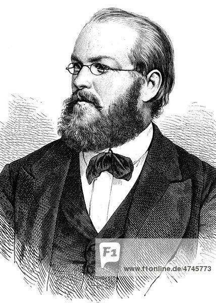 Franz August Freiherr Schenk von Stauffenberg  1834 - 1901  deutscher Jurist und Politiker  historische Illustration  1877