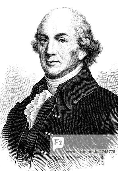 Johann Gottfried von Herder  1744 - 1803  Dichter  historische Illustration  1877