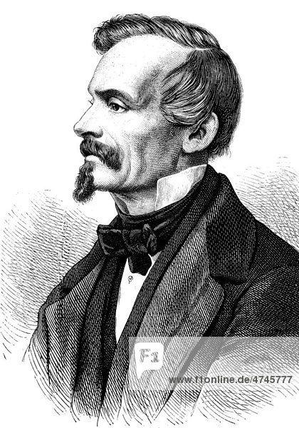 Julius Hammer  1810 - 1862  Dichter und Begründer der Deutschen Schillerstiftung  historische Illustration  1877