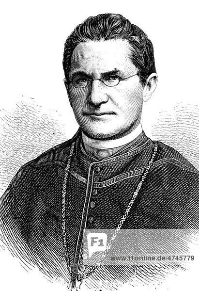 Weihbischof Lothar von Kübel  Verwalter des Erzbistums Freiburg  1823 - 1881  historische Illustration  1877