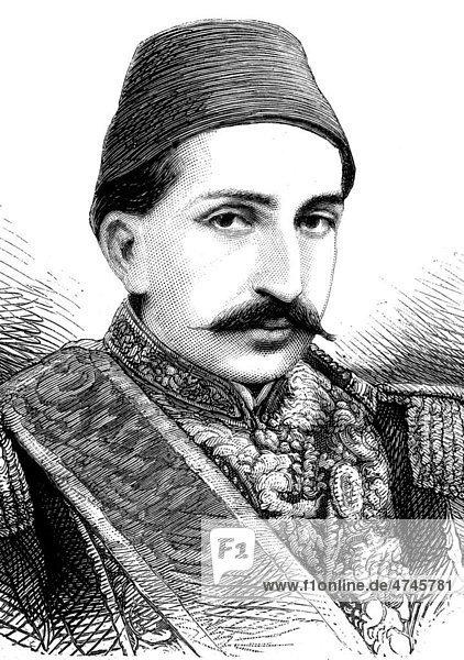 Abdul Hamid II.  1842 - 1918  Sultan der Türkei  des osmanischen Reiches  historische Illustration  1877