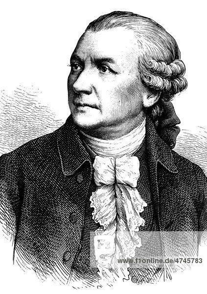 Friedrich Gottlieb Klopstock  1724 - 1803  Dichter  historische Illustration  1877