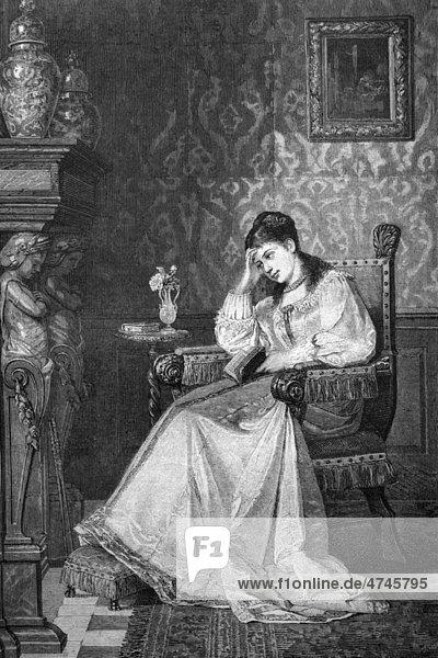 Träumerische Frau mit Buch  historische Illustration  1877