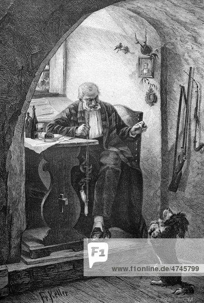 Hund macht Männchen vor einem Mann,  historische Illustration,  1877