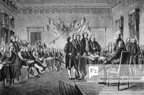 Unterzeichnung der Unabhängigkeitserklärung der Vereinigten Staaten Nordamerikas im Jahre 1776  USA  historische Illustration  1877
