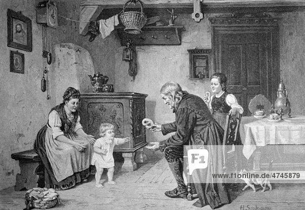 Erste Schritte des Babys in der Familie  historisches Bild ca. 1893