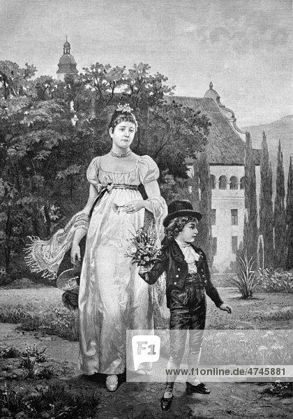 Kind hat für seine Mutter einen Waldblumenstrauß gepflückt  historisches Bild ca. 1893