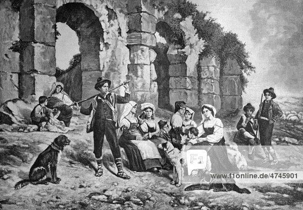Familienausflug in der Landschaft bei Rom  Italien  historisches Bild ca. 1893