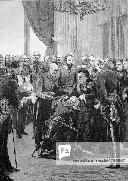Ordensverleihung durch die Königin von England im Schloss Windsor  Windsor  Vereinigtes Königreich  historisches Bild ca. 1893