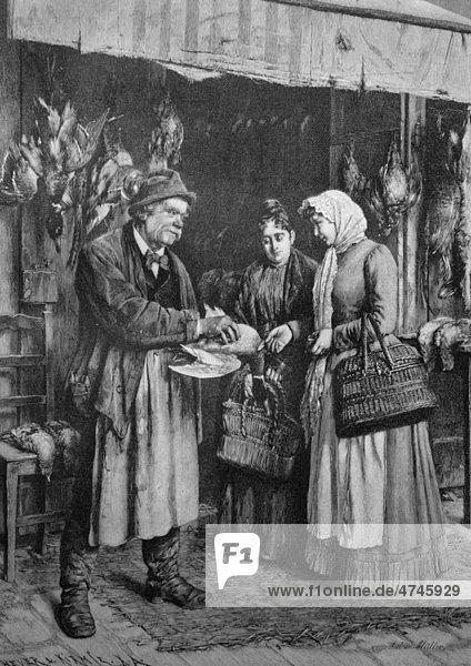 Geflügelhändler  historisches Bild  ca. 1893