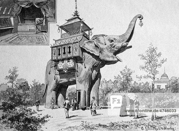 Der Elefant im Berliner Hippodrom  Berlin  Deutschland  historisches Bild ca. 1893 Der Elefant im Berliner Hippodrom, Berlin, Deutschland, historisches Bild ca. 1893