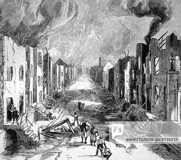 Brandkatastrophe in Kingston  Jamaika  im Jahr 1883  Orange Street nach dem Feuer  historische Illustration  1883