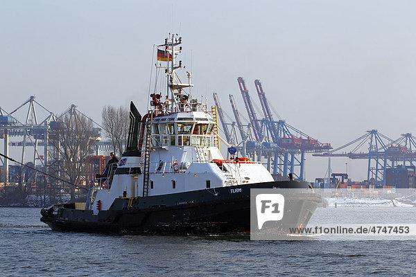 Schlepper Turm im Hamburger Hafen  Schiff auf der Elbe  Hamburg  Deutschland  Europa