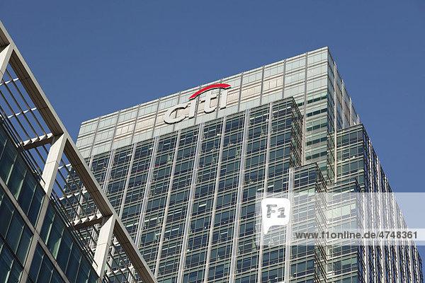 Das Citibank Hochhaus in Canary Wharf  London  England  Großbritannien  Europa